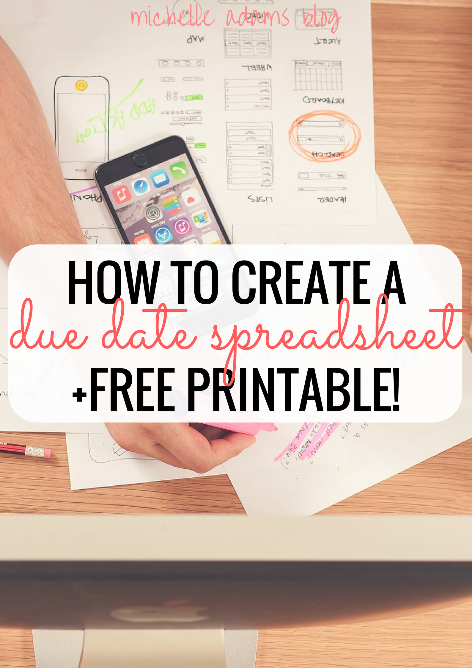 photo regarding College Organization Printables named Are living Well prepared With My Owing Day Spreadsheet [+Absolutely free Printable