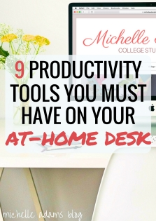 9 Productivity Tools Items You Must Have on Your At-Home Home Office Desk | Michelle Adams Blog #workfromhome #study #studying #college #telecommute #working #work #desk #organization